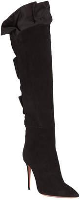 Aquazzura Eiffel Suede Knee Boot with Ruffles