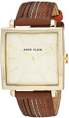 Anne Klein Women's AK/2740CHBN Gold-Tone and Brown Leather Strap Watch