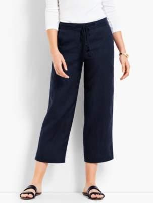Talbots Drawstring Linen Wide-Leg Crop