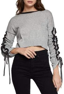 BCBGeneration Ruffle-Sleeve Cropped Cotton Sweater