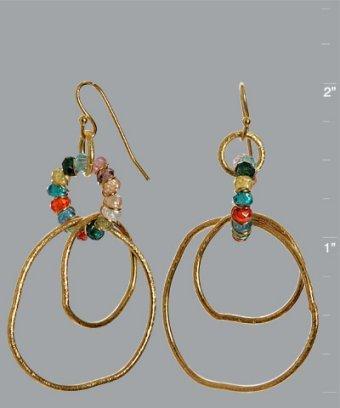 Mashka gold and CZ organic hoop earrings