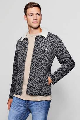 boohoo Borg Collar Leopard Denim Jacket