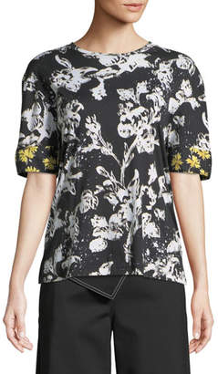 Derek Lam Short-Sleeve Graffiti Floral-Print Cotton T-Shirt w/ Silk Cuffs