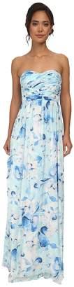 Donna Morgan Stephanie Long Printed Floral Chiffon Dress Women's Dress