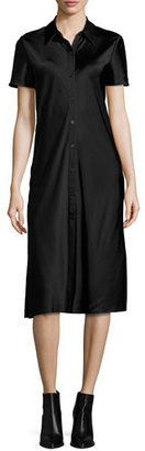DKNY Short-Sleeve Collared Satin Shirtdress, Black $298 thestylecure.com