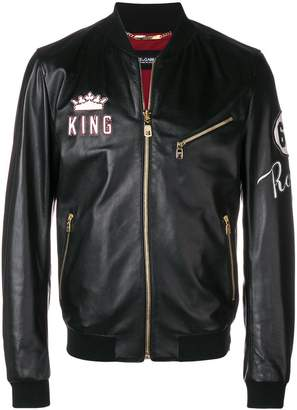Dolce & Gabbana king patch leather bomber jacket