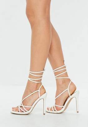 Missguided White Faux Leather Tie Up Gladiator Sandals