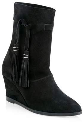 3d51e55b259 at Long Tall Sally · CURATD. x LTS Slouchy Suede Wedge Ankle Boot