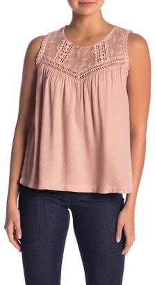 Love Stitch Embroidered Lace Trim Tank Top