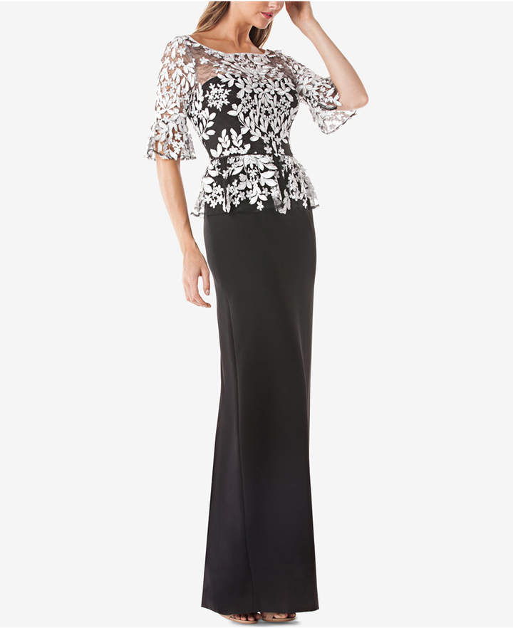 JS Collections Embroidered Lace Peplum Gown - ShopStyle Evening