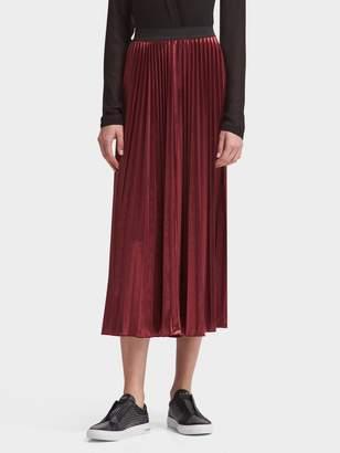 DKNY Pleated Velvet Midi Skirt