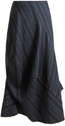 Suse striped asymmetric wool-blend skirt