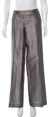 Emporio Armani Mid-Rise Wide-Leg Pants Silver Mid-Rise Wide-Leg Pants