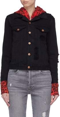 NSF 'Adams' denim jacket overlay leopard print zip hoodie
