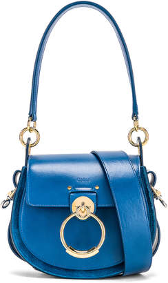 Chloé Small Tess Shiny Calfskin Shoulder Bag in Smoky Blue | FWRD