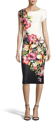 ECI Tropical Print Sheath Dress