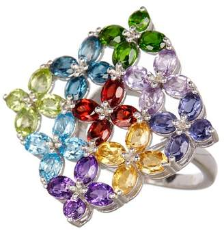 Savvy Cie Multi Gem Floral Ring