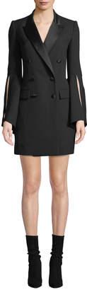 Prabal Gurung Slit-Sleeve Double-Breasted Tux Dress