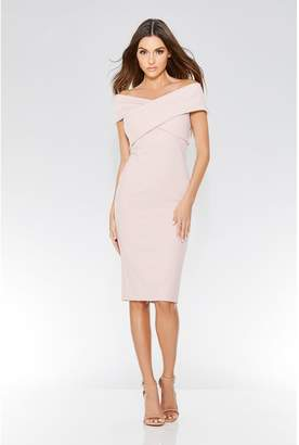 Quiz Dusky Pink Crepe Cross Over Bardot Midi Dress