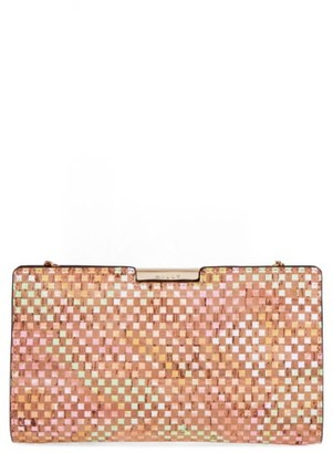 Milly Small Geo Cork Frame Clutch - Beige $255 thestylecure.com