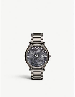 Emporio Armani AR11155 Luigi gunmetal stainless steel and marble-print watch