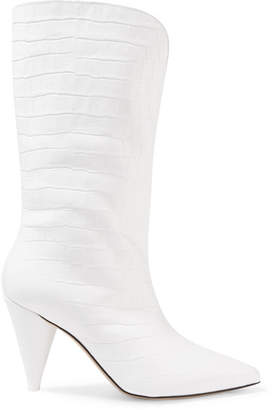 ATTICO Betta Croc-effect Leather Knee Boots - White