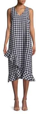 Lord & Taylor Plus Linen Gingham Ruffle Dress