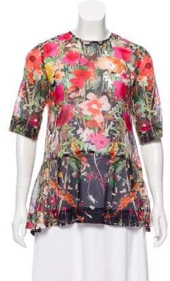 Lela Rose Floral Short Sleeve Top