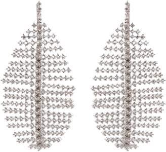 Kenneth Jay Lane CZ by Cubic zirconia leaf drop earrings