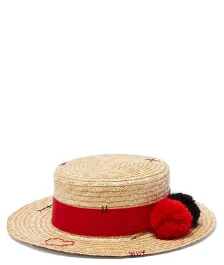 Ruslan Baginskiy Pompom Trim Straw Boater Hat - Womens - Beige