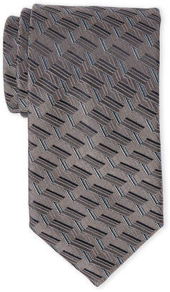 Lanvin Grey Broken Stripe Silk Tie