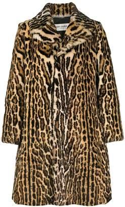 Saint Laurent leopard print midi coat