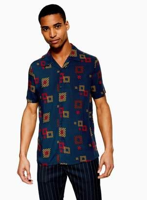 TopmanTopman Navy Large Geometric Revere Shirt