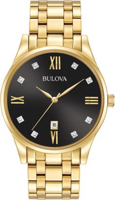 Bulova 97D108 Men's Diamonds Black Dial Yellow Gold Plated Steel Bracelet Watch