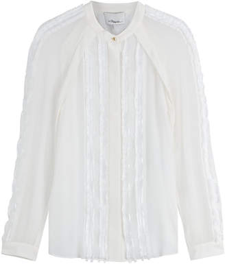 3.1 Phillip Lim Silk Blouse with Frayed Trims