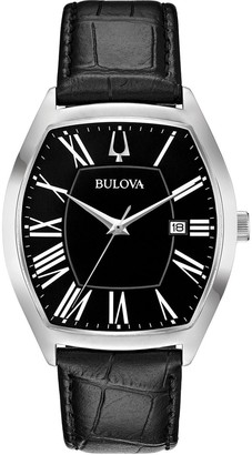 Bulova Men's Stainless Classic Black Leather Strap Watch