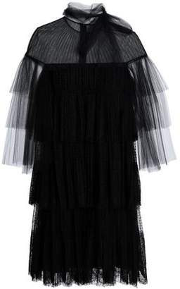 Valentino Tiered Tulle Point D'esprit And Corded Lace Mini Dress