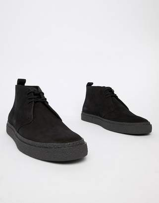 Fred Perry Hawley mid suede boots in black