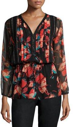 Ella Moss Fiore Long-Sleeve Floral-Print Blouse, Black $198 thestylecure.com