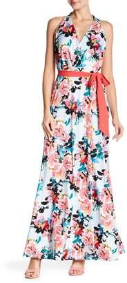 Chetta B Sleeveless Waist Tie Printed Maxi Dress