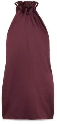 Rosetta Getty Ruched Satin Mini Dress - Merlot