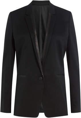The Kooples Wool Blazer with Leather Trim