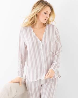 Hanro Lara Long Sleeve Pajama Top Jaquard Stripe