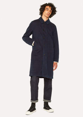 Paul Smith Men's Indigo-Dyed Check Red Ear Shop Coat