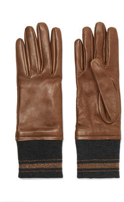 Brunello Cucinelli Leather And Cashmere Gloves - Brown
