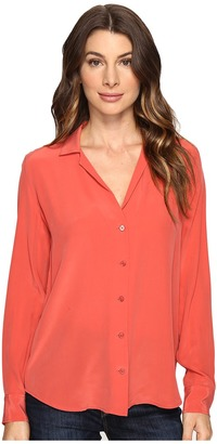 EQUIPMENT - Adalyn V-Neck Button Up Solid Women's Blouse $218 thestylecure.com