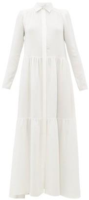 Roche Ryan Tiered Silk Maxi Shirtdress - Womens - White