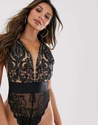 Ann Summers luchia lace body in black