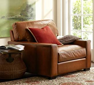 Pottery Barn Turner Square Arm Leather Armchair