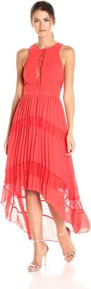 Adelyn Rae Women's Irina Woven Pleated Hi-Low Dress